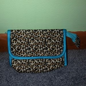 Cheetah Print Makeup Bag with Mirror